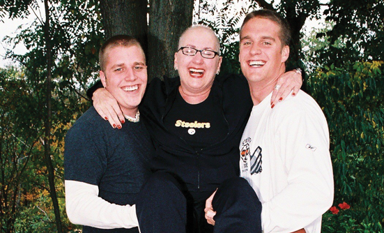 Brian (on left) with his mother, Stephanie, and his brother Will
