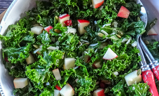 Massaged Kale, Apple and Cranberry Salad