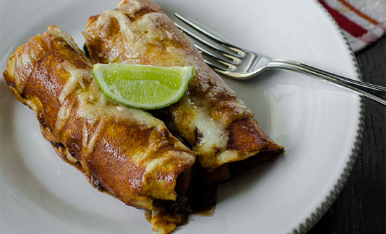 Butternut Squash, Kale, and Black Bean Enchiladas