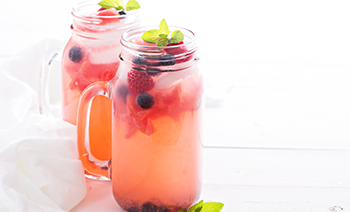 Watermelon Aqua Fresca with Blueberry Ice Cubes