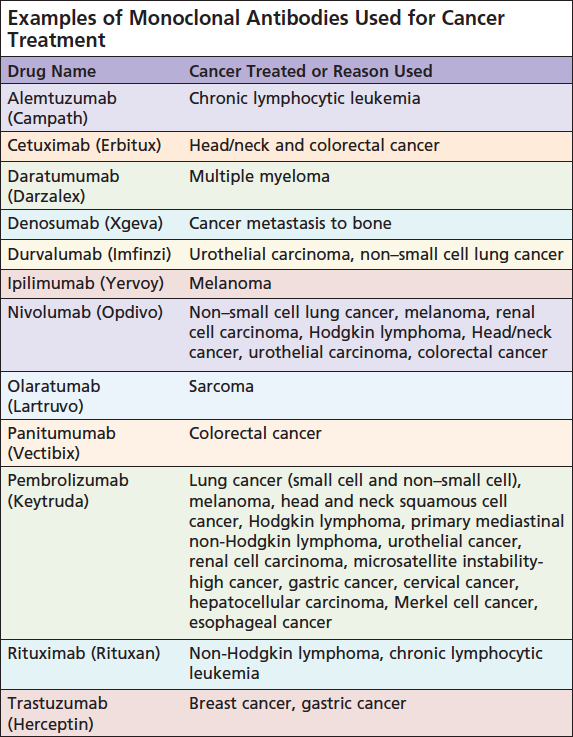 Examples of Monoclonal Antibodies Used for Cancer Treatment.